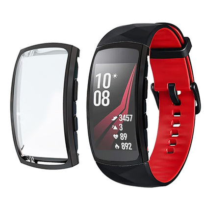 For Samsung Gear Fit 2 Pro Full Coverage Plating TPU Watch Case(Black)
