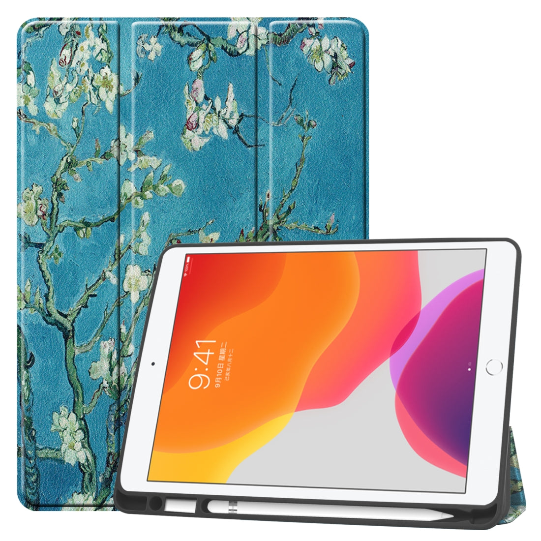 For iPad 10.2 TPU Colored Drawing Horizontal Flip Leather Case with Three-folding Holder & Sleep / Wake-up Function(Apricot Flower)