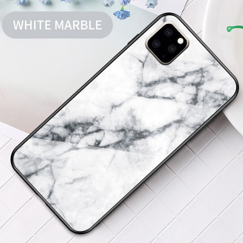 For iPhone 11 Marble Glass Protective Case(White)