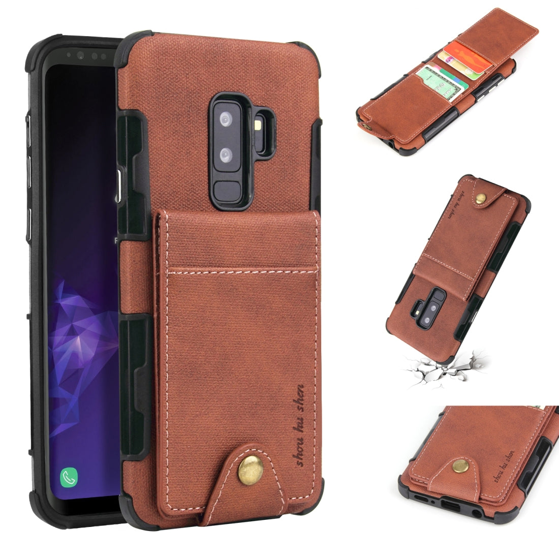 For Galaxy S9+ Cloth Texture + TPU Shockproof Protective Case with Vertical Flip Card Slots(Brown)