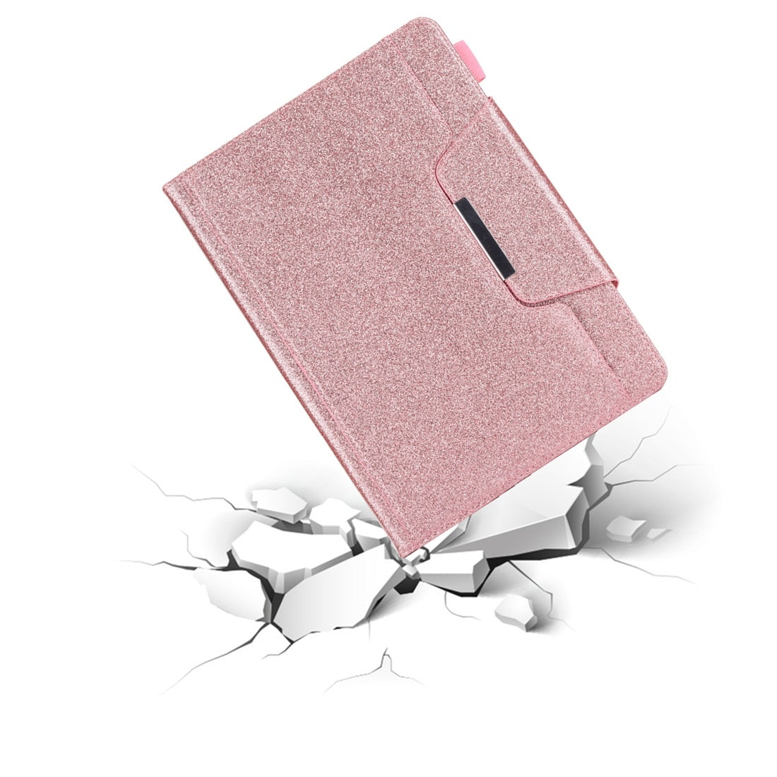 For iPad 10.2 inch Glitter Powder Horizontal Flip Leather Case with Holder & Card Slot & Photo Frame & Wallet(Pink)