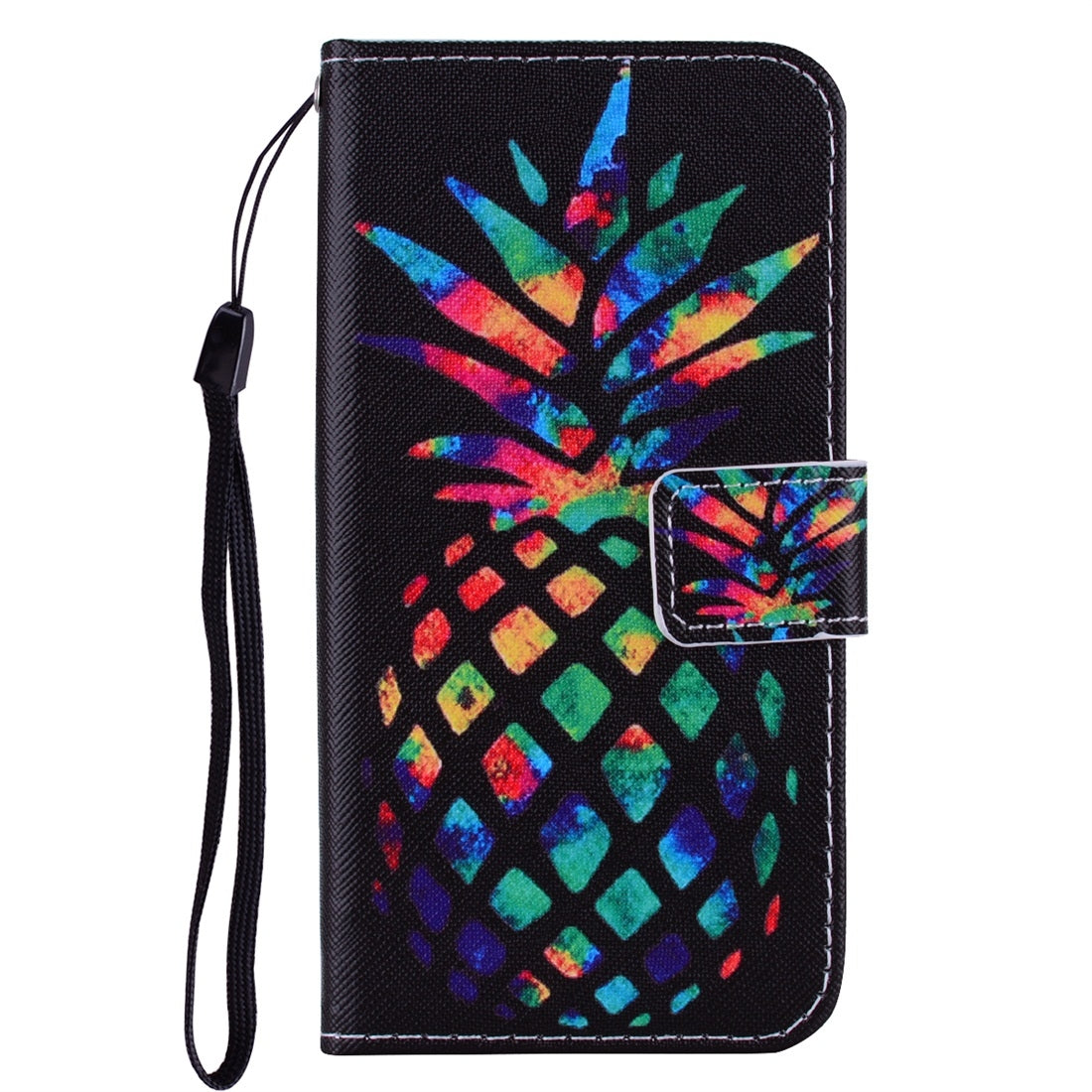 For iPhone 11 Coloured Drawing Pattern Horizontal Flip Leather Case with Holder & Card Slots & Wallet(Colorful Pineapple)