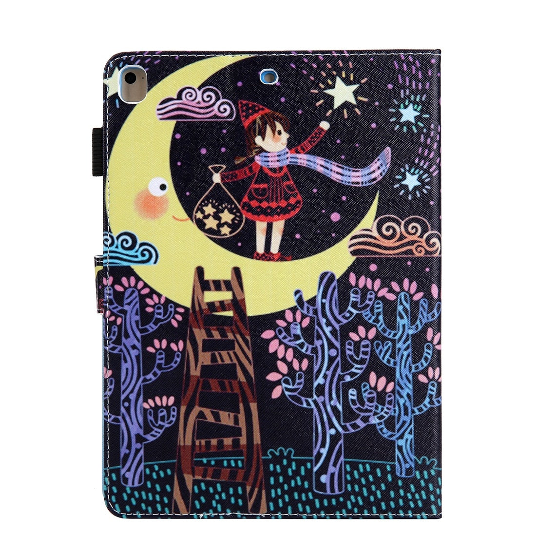 For iPad 10.2 inch Coloured Drawing Pattern Horizontal Flip Leather Case with Holder & Card Slots & Photo Frame(Star Picking Girl)