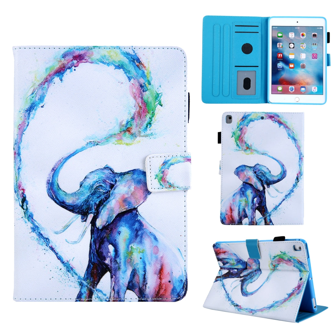For iPad 10.2 Coloured Drawing Pattern Horizontal Flip Leather Case with Holder & Card Slot & Wallet(Oil Painting Elephant)