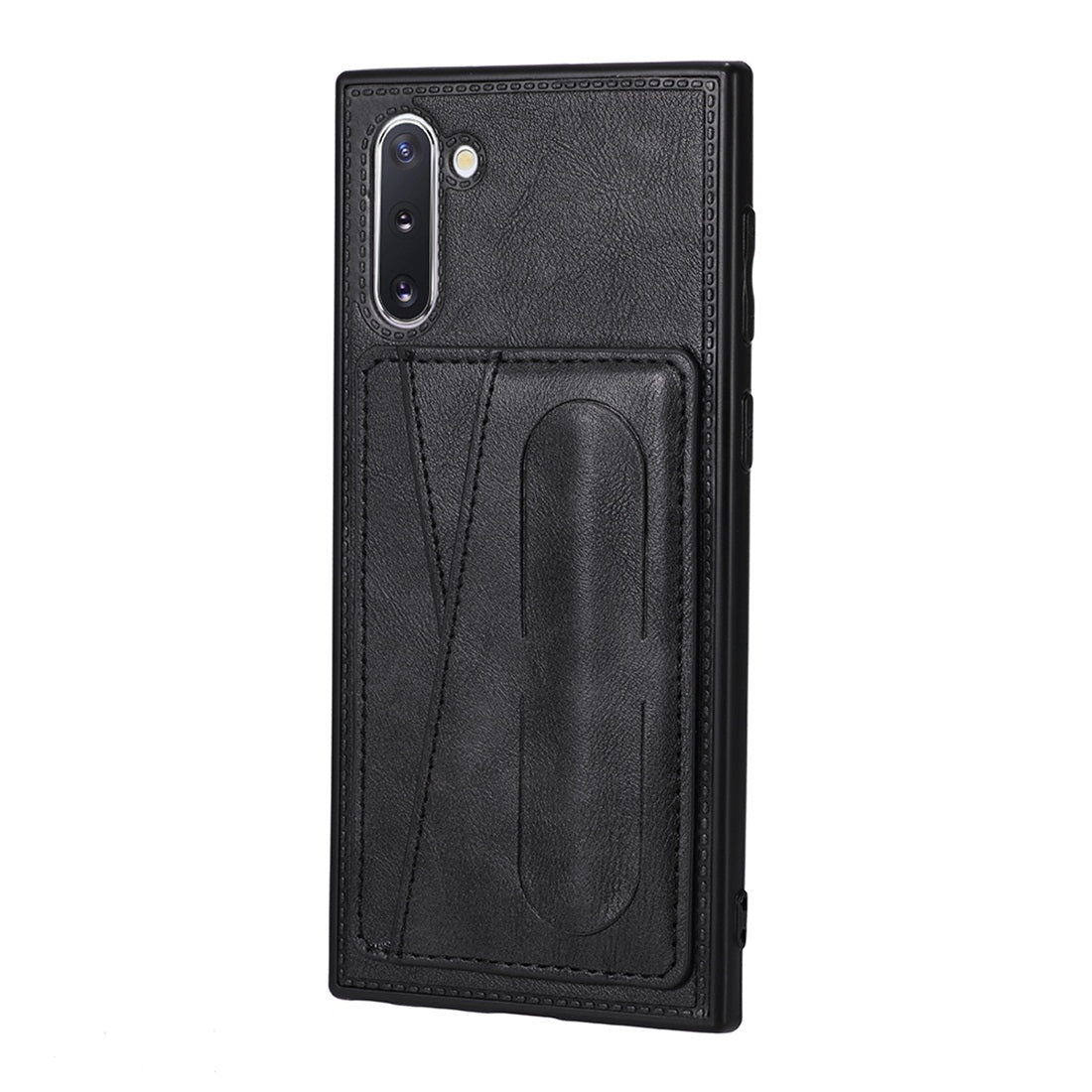 For Galaxy Note 10 Shockproof PC + PU Protective Case with Spring Holder & Card Slot(Black)