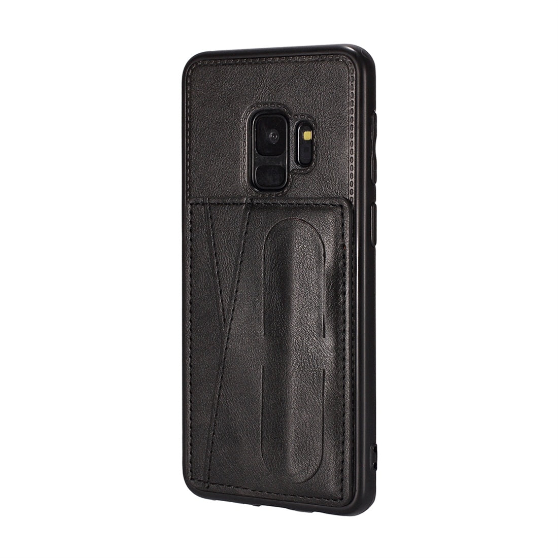 For Galaxy S9+ Shockproof PC + PU Protective Case with Spring Holder & Card Slot(Black)