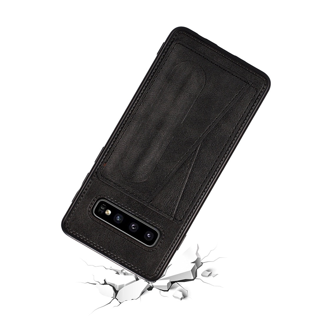 For Galaxy S10+ Shockproof PC + PU Protective Case with Spring Holder & Card Slot(Black)