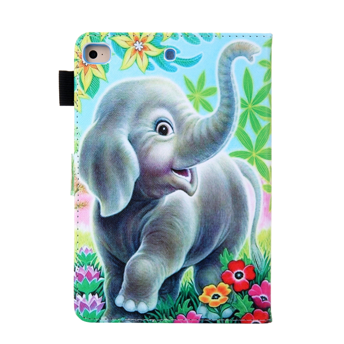 For iPad Mini 1 / 2 / 3 / 4 / 5 Coloured Drawing Pattern Horizontal Flip Leather Case with Holder & Card Slot(Elephant)