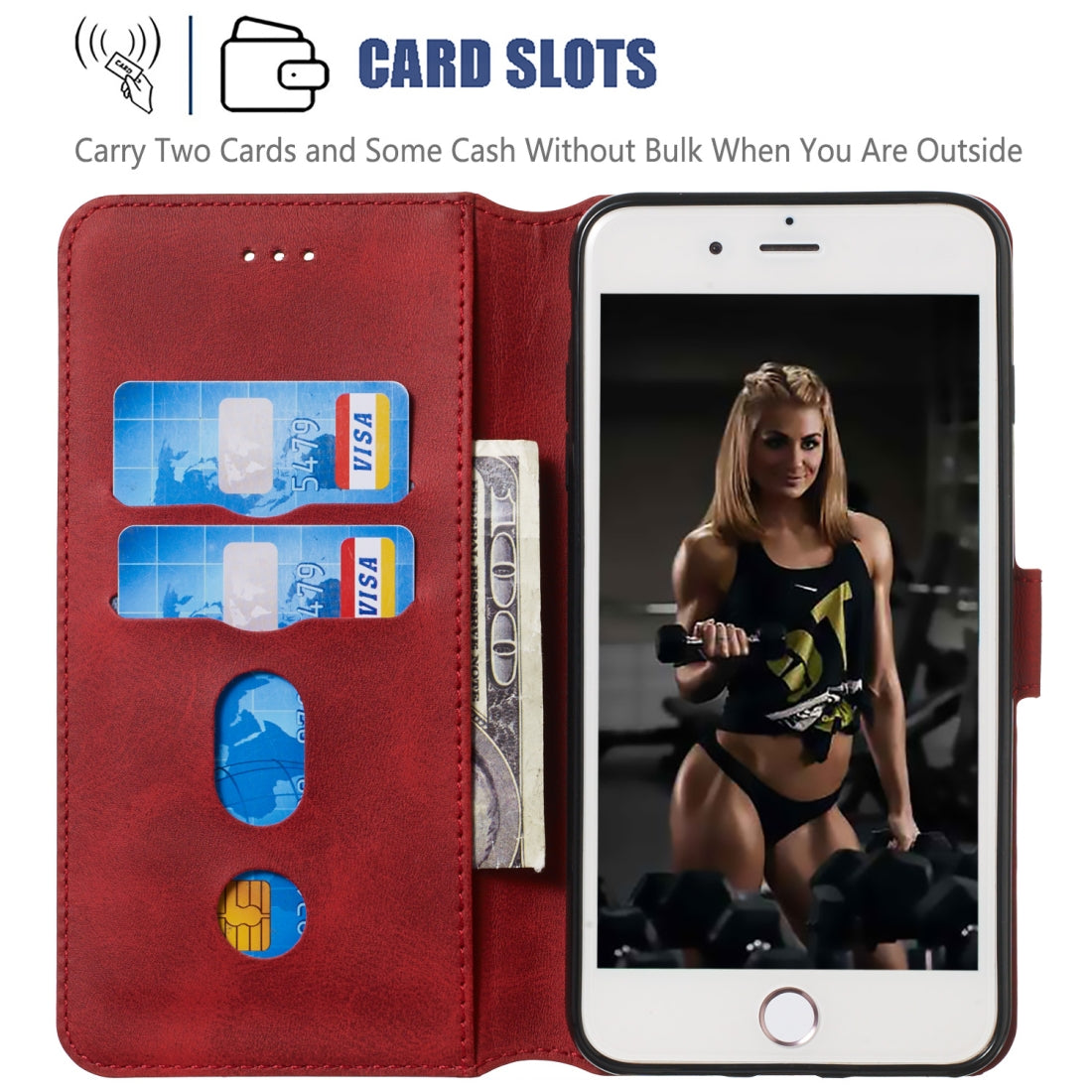 For iPhone 8 / 7 Solid Color Buckle Horizontal Flip Leather Case with Wallet & Holder & Card Slots(Red)