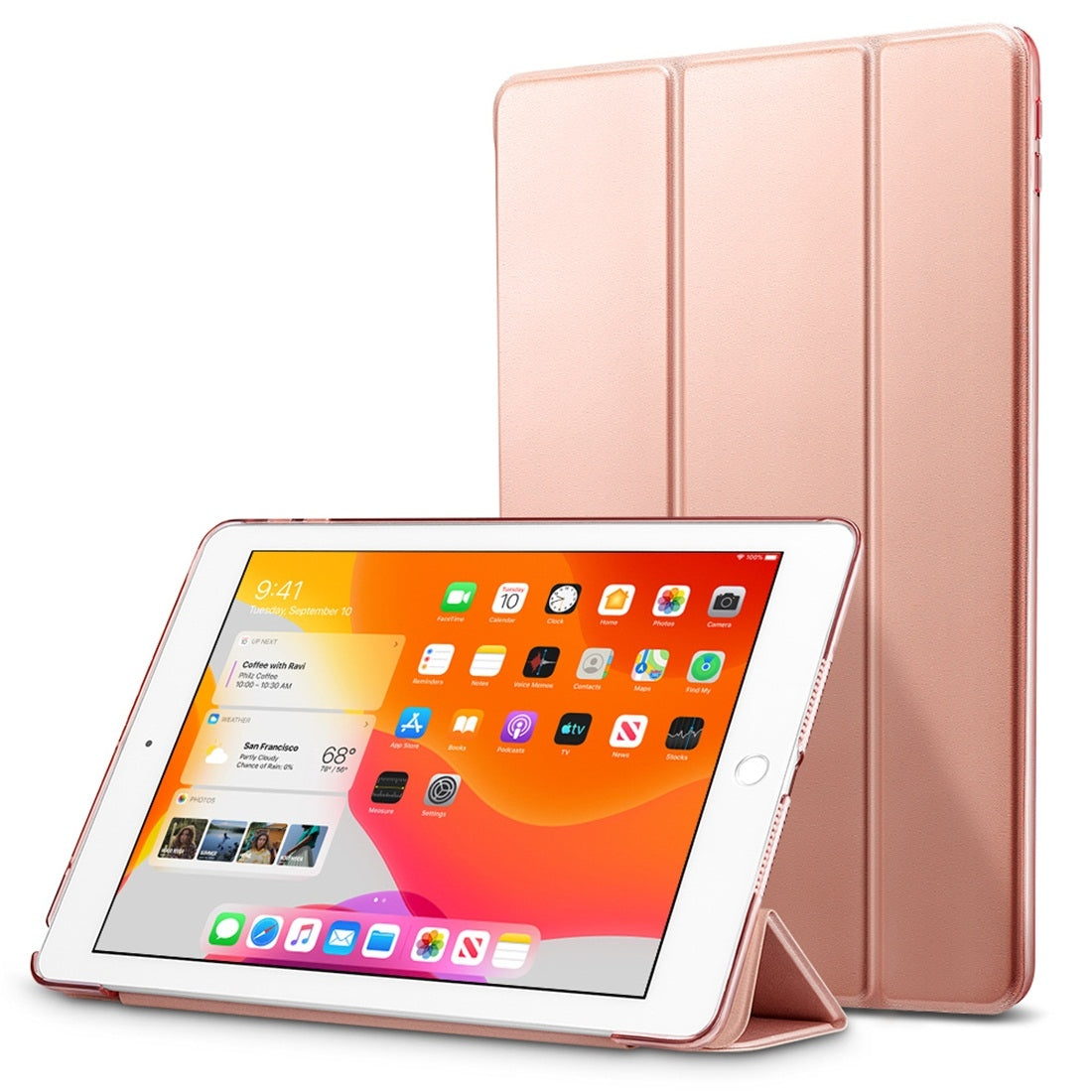 ESR For iPad 10.2 inch Yippee Color Seires PC + PU Horizontal Flip Leather Case with Holder & Sleep / Wake-up Function(Rose Gold)