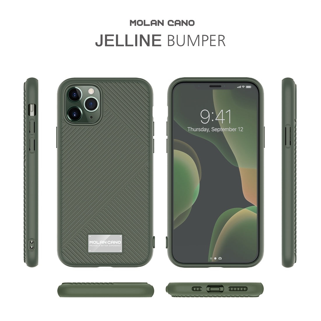 For iPhone 11 MOLANCANO JELLINE BUMPER Shockproof TPU Protective Case(Army Green)