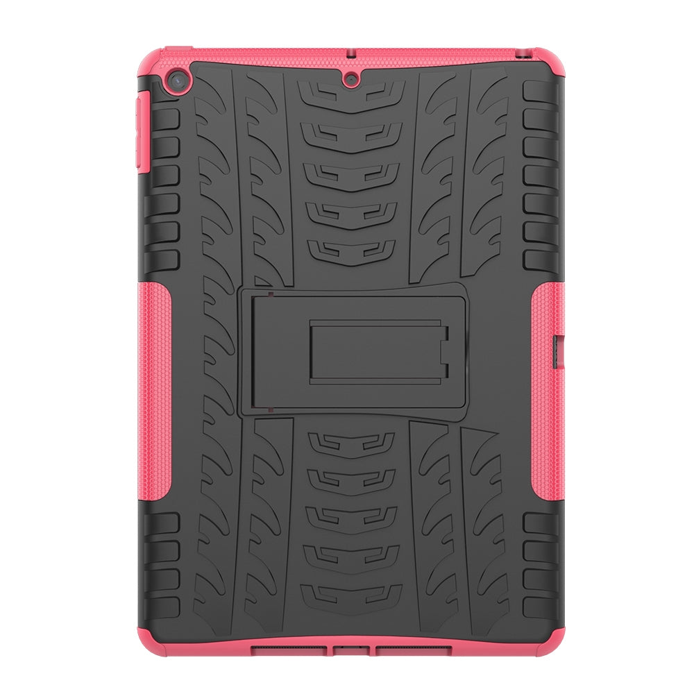 For iPad 10.2 Tire Texture TPU + PC Shockproof Case with Holder(Pink)