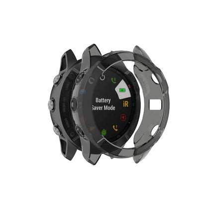 For Garmin Fenix 6X / 6X Pro Smart Watch Half Coverage TPU Protective Case(Transparent Black)