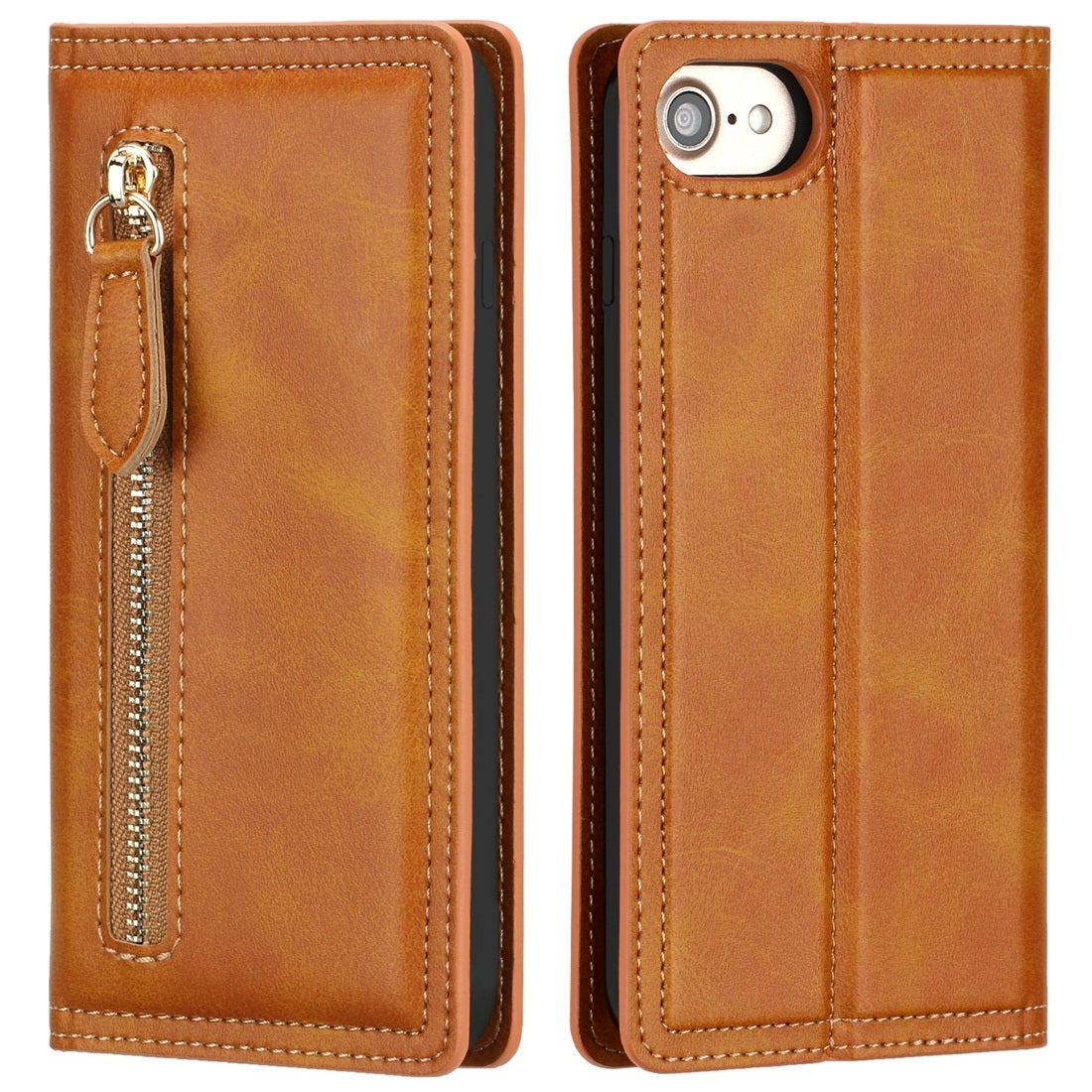 For iPhone 6 / 7 / 8 Skin Texture Magnetic Zipper Horizontal Flip Leather Case with Card Slot & Wallet(Orange)