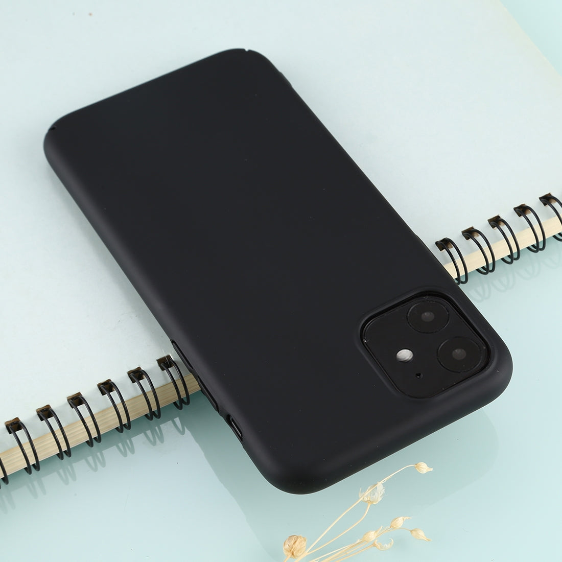 For iPhone 11 Solid Color Plastic Protective Case(Black)