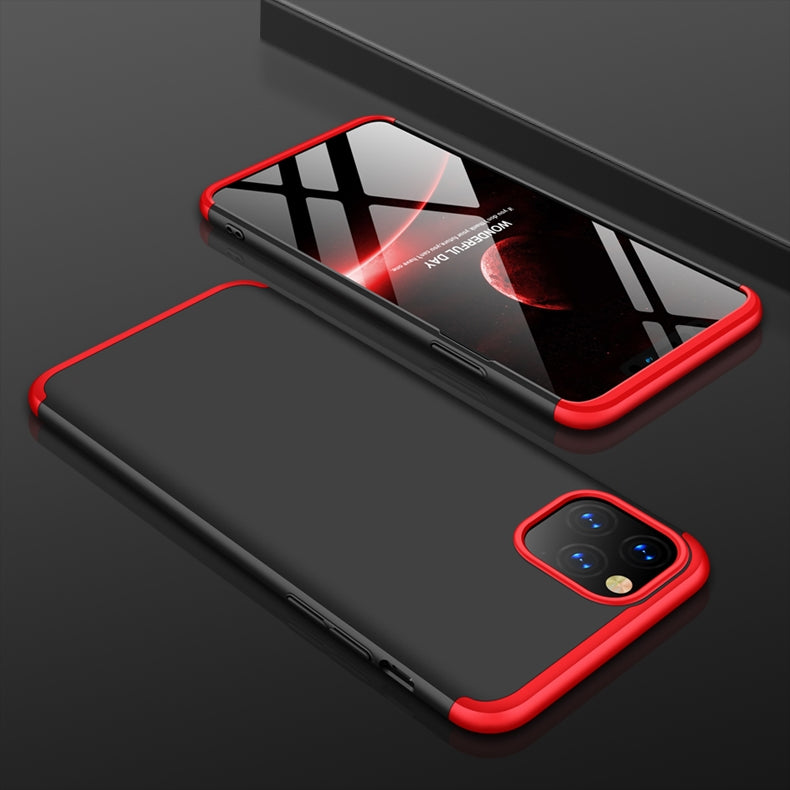 For iPhone 11 GKK Three Stage Splicing Full Coverage PC Protective Case(Black Red)