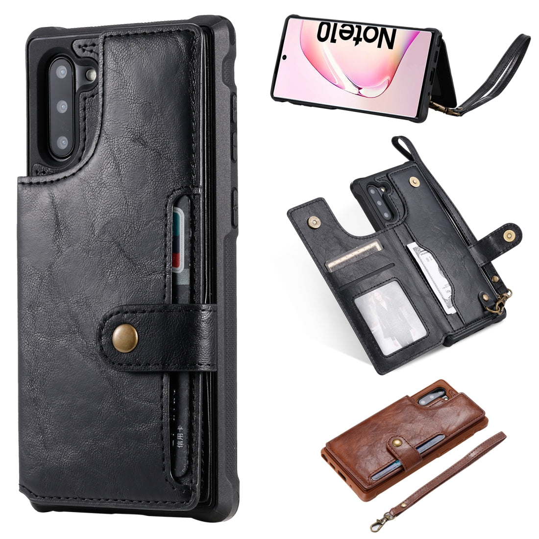 For  Galaxy Note 10 Buckle Zipper Shockproof Protective Case with Holder & Card Slots & Wallet & Lanyard & Photos Frame(Black)