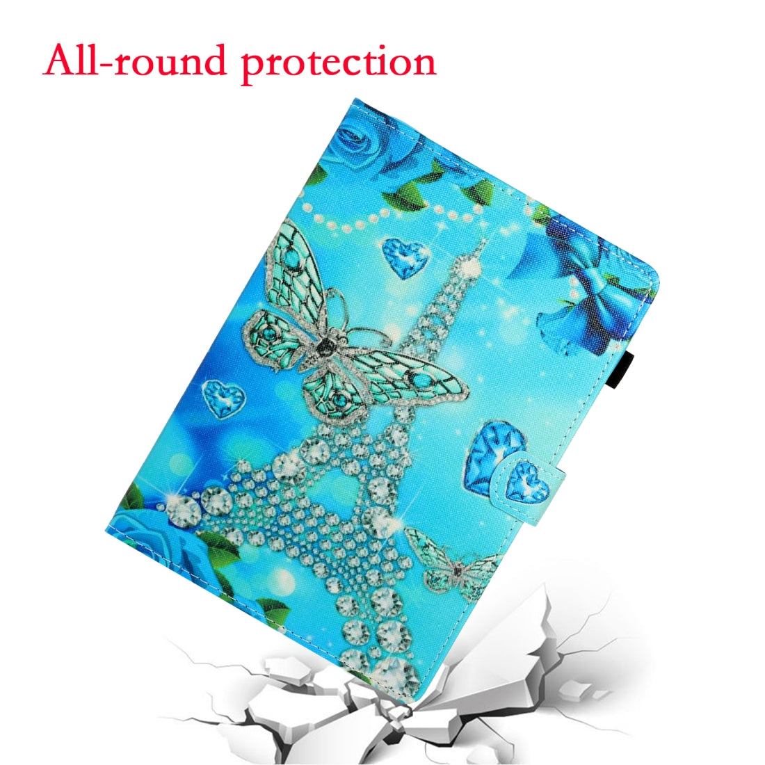 For iPad 10.2 / Air 10.5 (2019) Colored Drawing Horizontal Flip PU Leather Case with Holder & Card Slot & Sleep / Wake-up Function(Butterfly Tower)