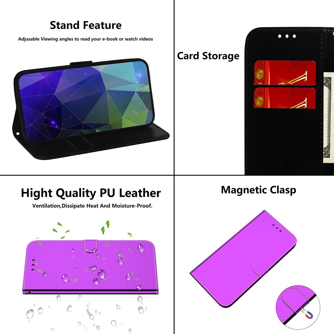 For Galaxy Note 10 Imitated Mirror Surface Horizontal Flip Leather Case with Holder & Card Slots & Wallet & Lanyard(Purple)