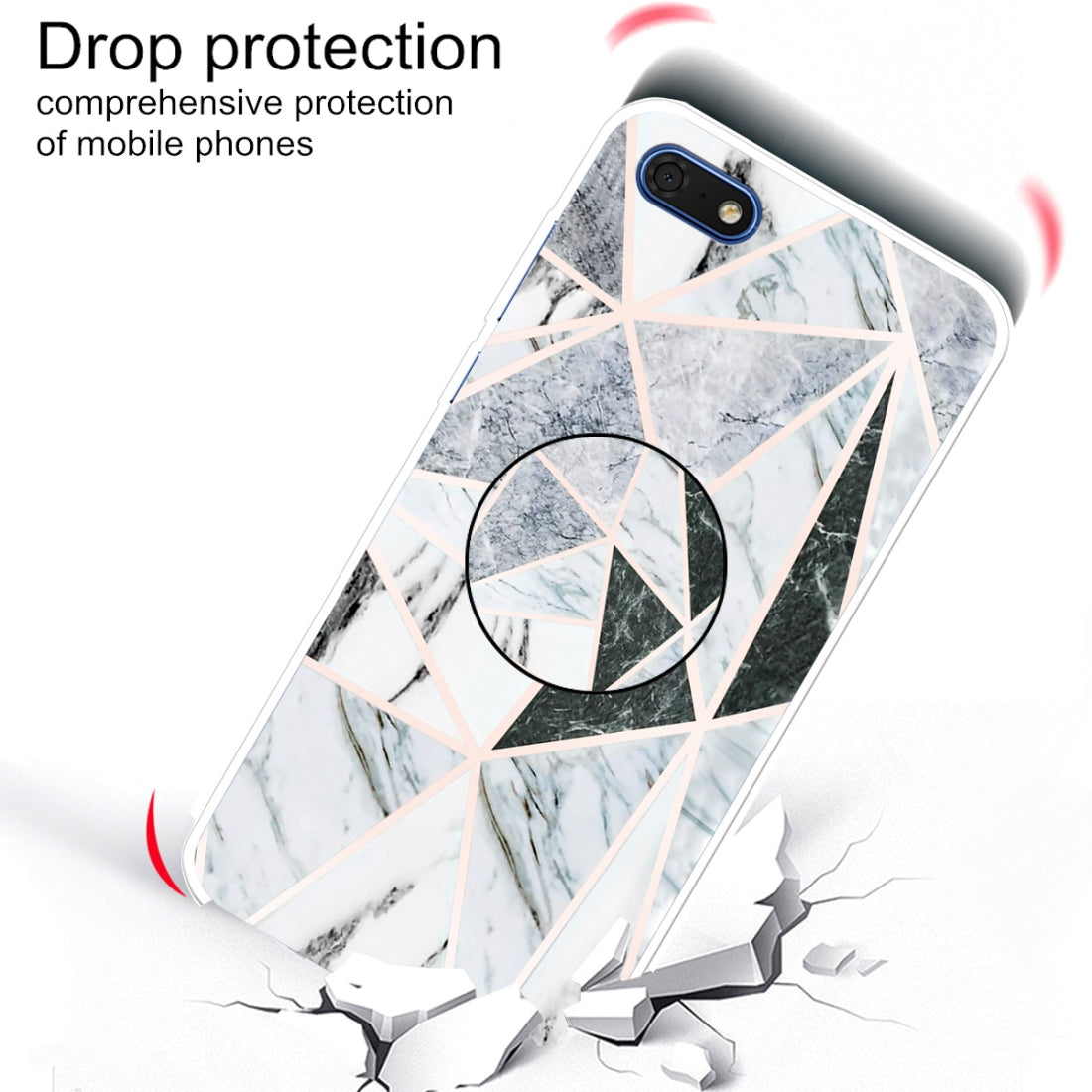 For Huawei Y5 Lite 2018 Embossed Varnished Marble TPU Protective Case with Holder(Polytriangle)
