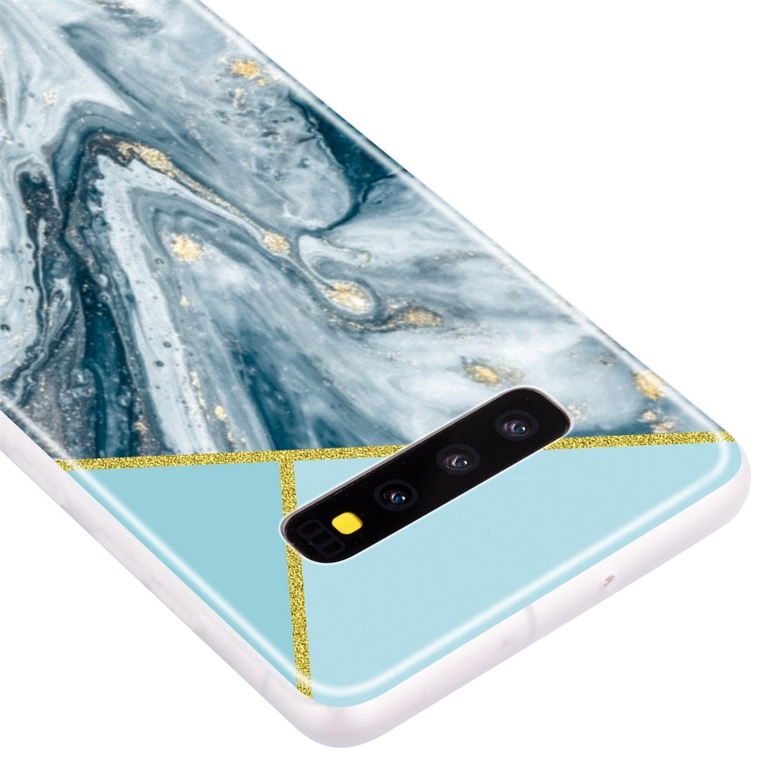 For Galaxy S10+ Geometric Marble Series Frosted Translucent TPU Protective Case(Rust)