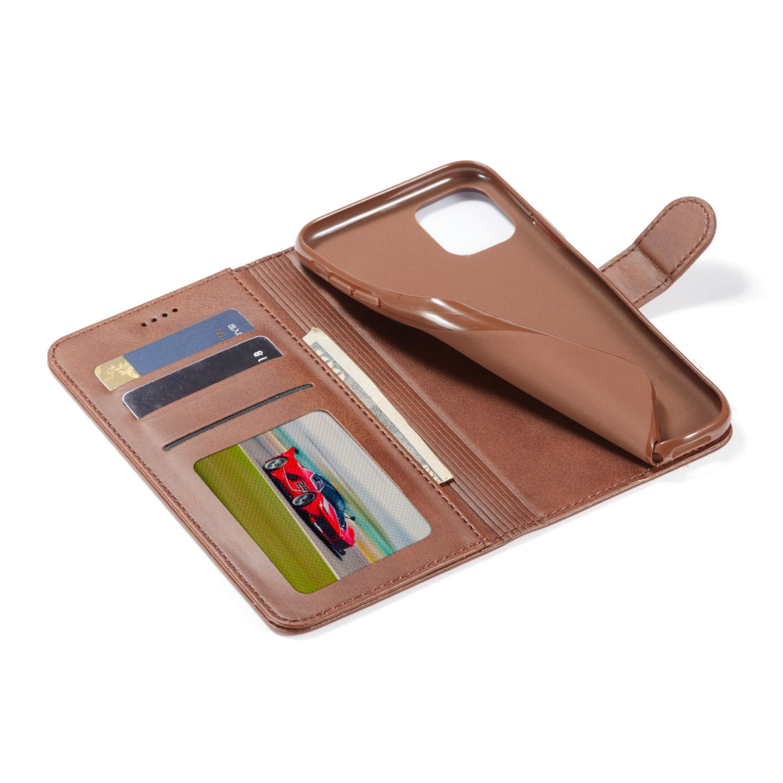 For iPhone 11 LC.IMEEKE Calf Texture Horizontal Flip Leather Case, with Holder & Card Slots & Wallet(Yellow)