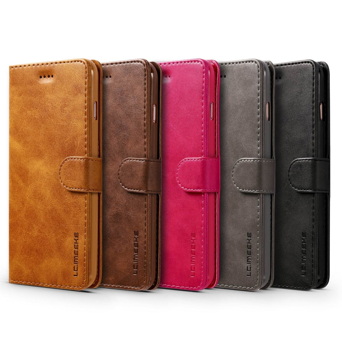 For iPhone 8 / 7 LC.IMEEKE Calf Texture Horizontal Flip Leather Case, with Holder & Card Slots & Wallet(Brown)