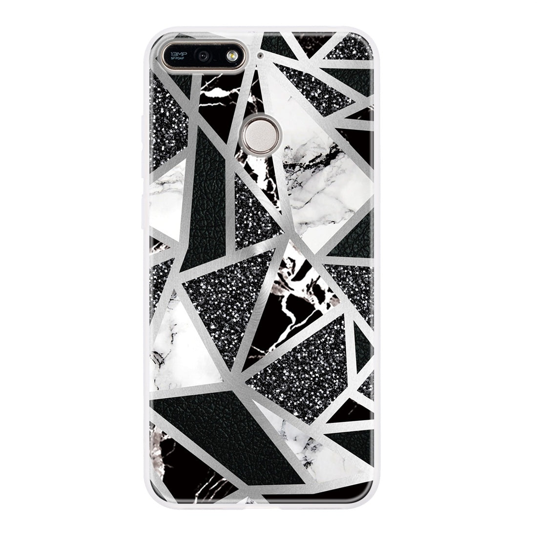 For Huawei Honor 7A Geometric Marble Series Frosted Translucent TPU Protective Case(Black White Grey)