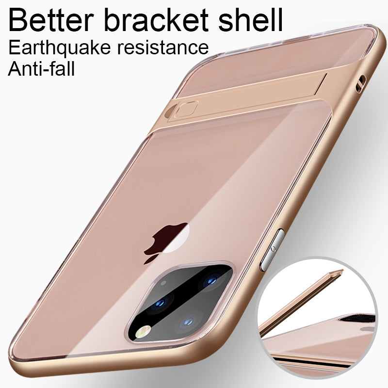 For iPhone 11 Crystal Shockproof TPU + PC Case with Holder(Gold)