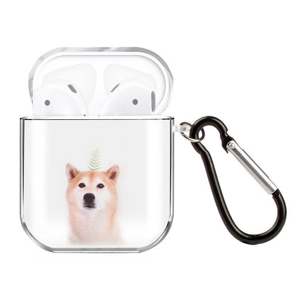 For AirPods 1 / 2 High Transparent TPU Colorful Painting Earphone Protective Case with Hook(Shiba Inu)