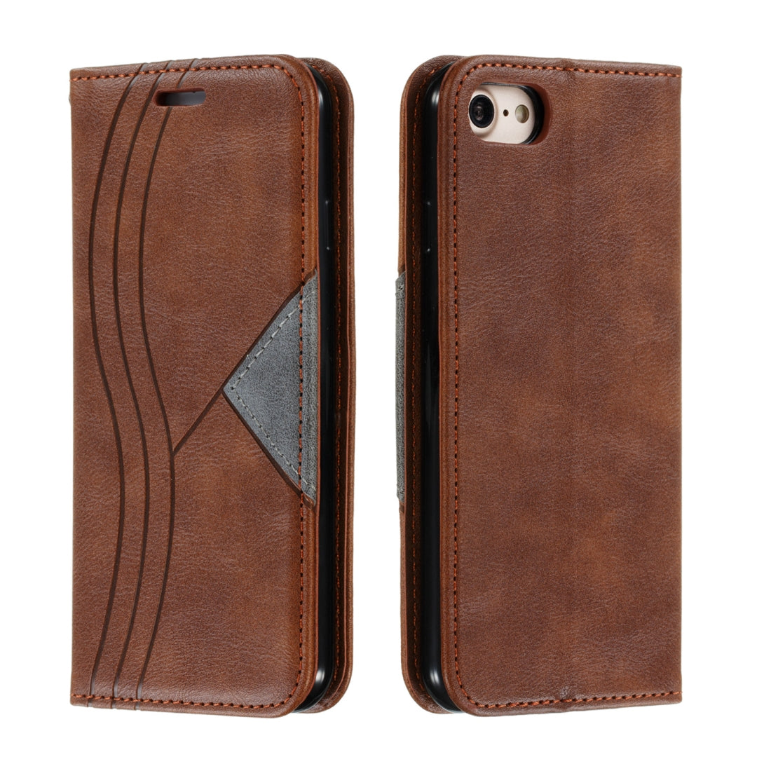 For iPhone 8 / 7 Splicing Color Magnetic Hem Horizontal Flip Leather Case with Holder & Card Slots(Brown)