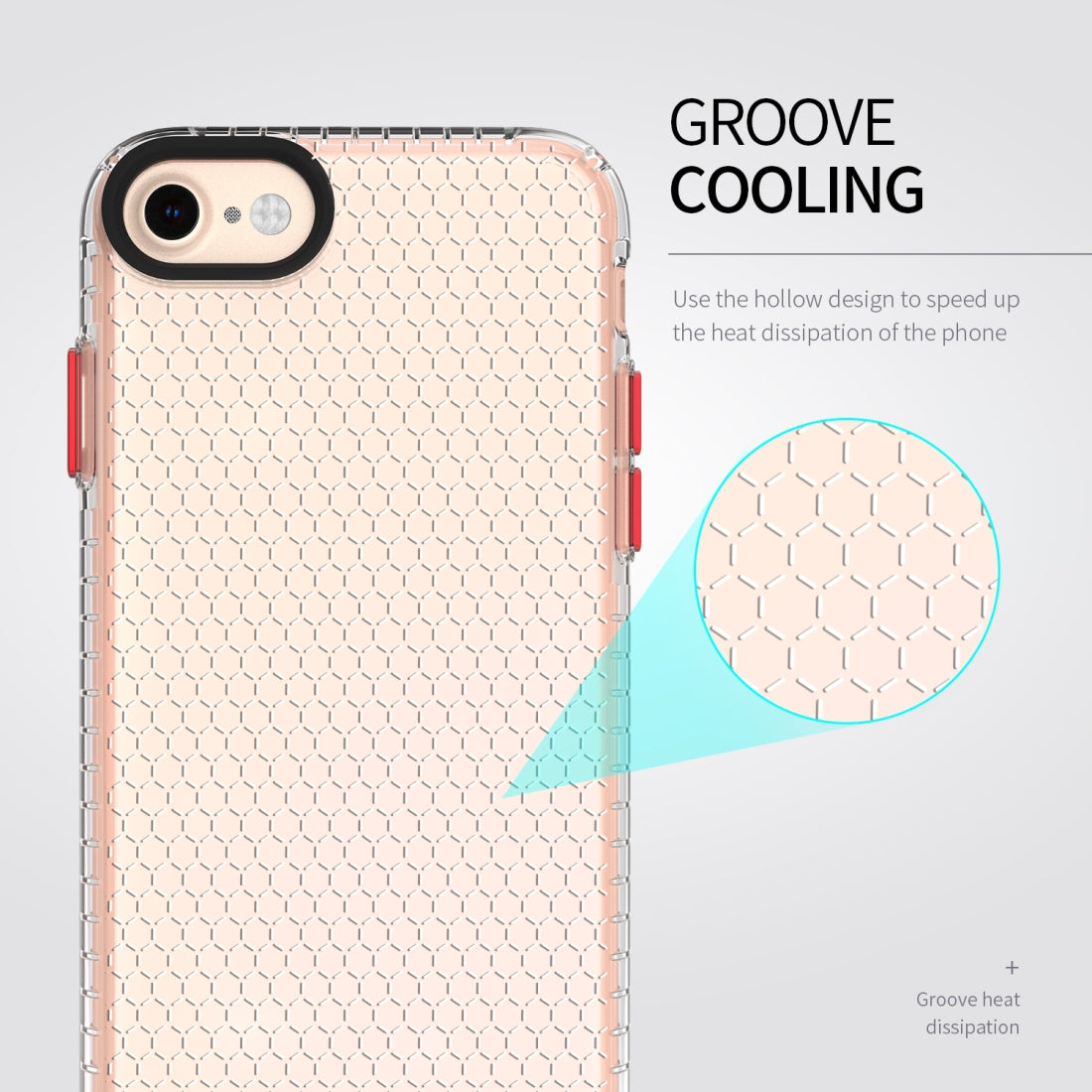 For iPhone 8 / 7 / 6 Honeycomb Shockproof TPU Case(Blue)