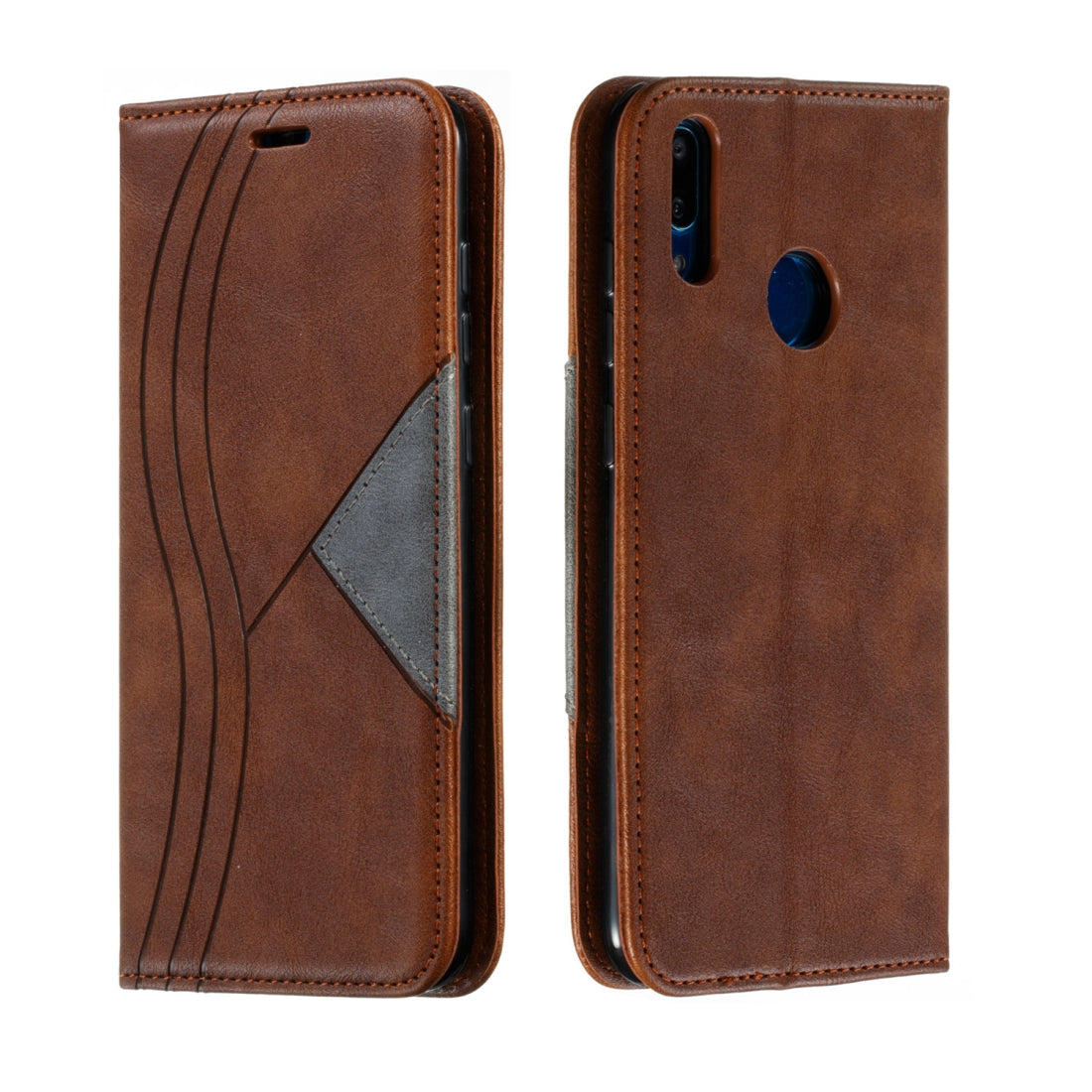 For Huawei Y7 2019 / Enjoy 9 / Y7 Prime 2019 / Y7 Pro 2019 Splicing Color Magnetic Hem Horizontal Flip Leather Case with Holder & Card Slots(Brown)