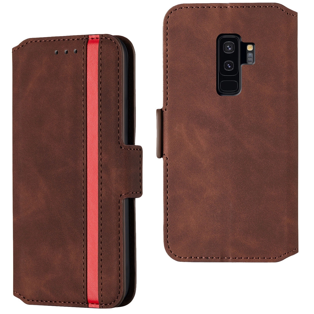 For Galaxy S9+ Retro Frosted Oil Side Horizontal Flip Case with Holder & Card Slots(Wine Red)