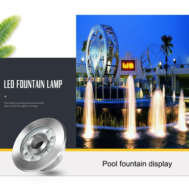 12W Landscape Ring LED Stainless Steel Underwater Fountain Light(Warm Light)
