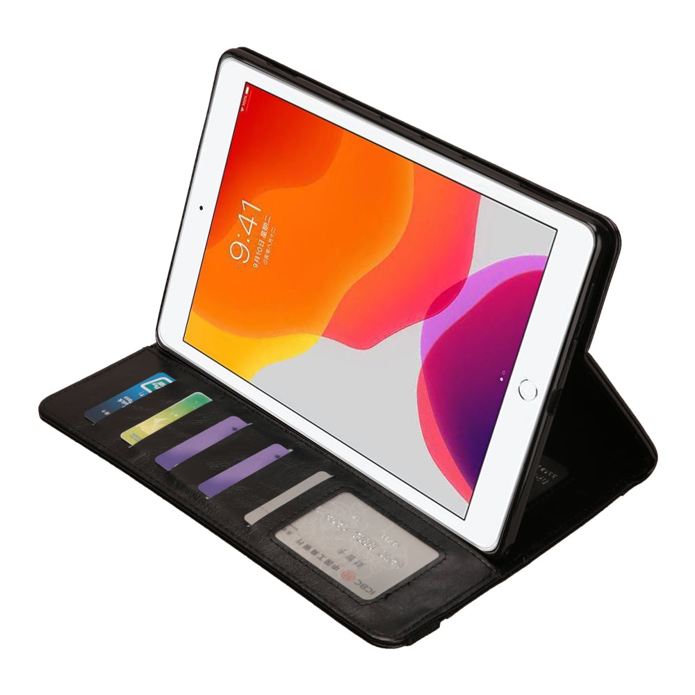 For iPad 10.2 Crazy Horse Texture Horizontal Flip PU Leather Case with Card Slots & Pen Slot & Holder & Wallet(Black)