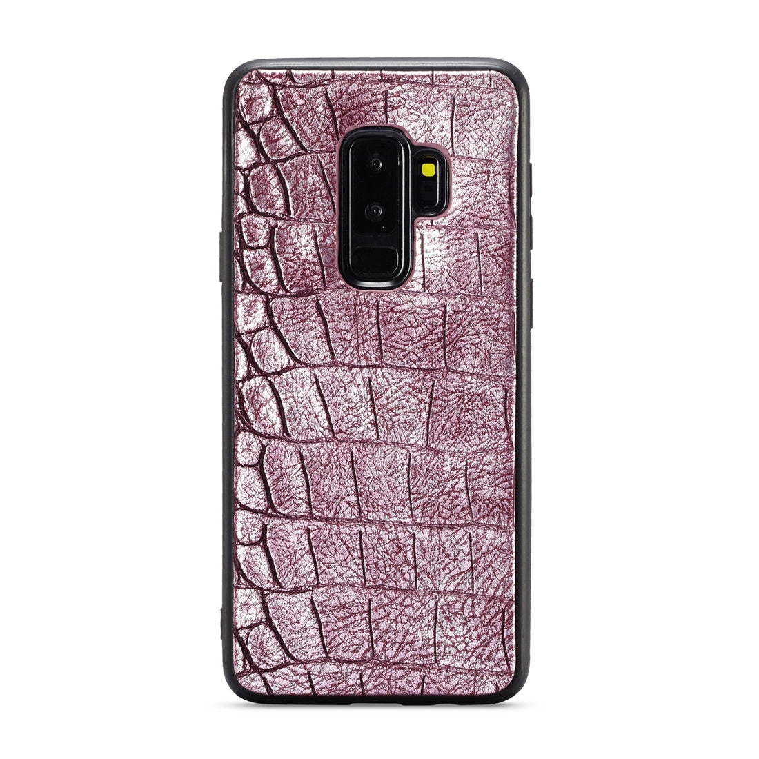 For Galaxy S9+ WHATIF Crocodile Texture TPU + PC + PU Full Coverage Protective Case(Purple Red)