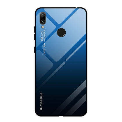 For Huawei Y7 (2019) / / Y7 Prime (2019) Gradient Color Glass Case(Blue)