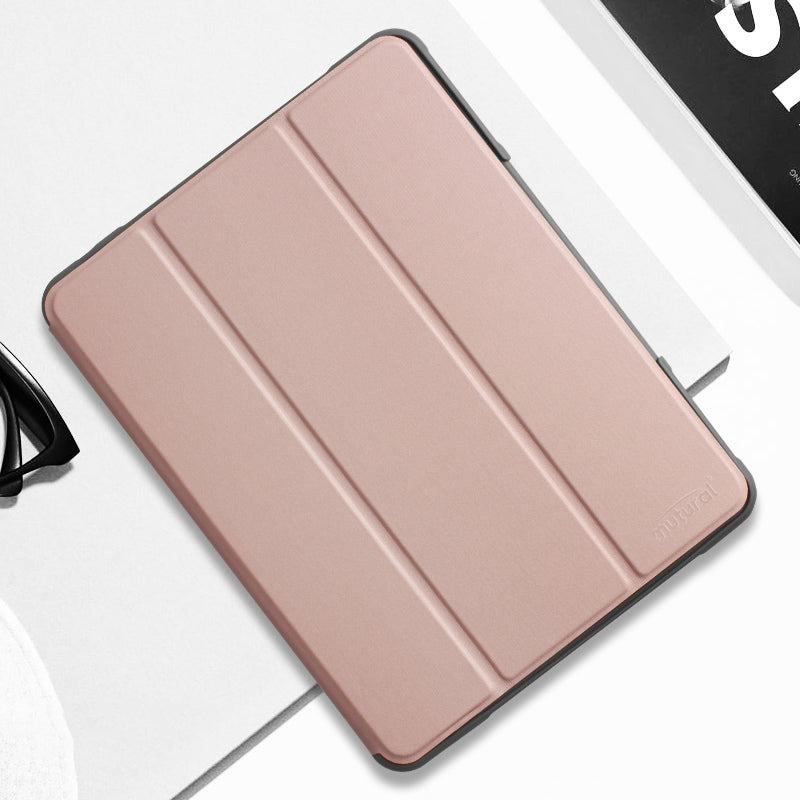 For iPad 10.2 Mutural Horizontal Flip PC + TPU + PU Leather Case with Holder & Pen Slot(Rose Gold)