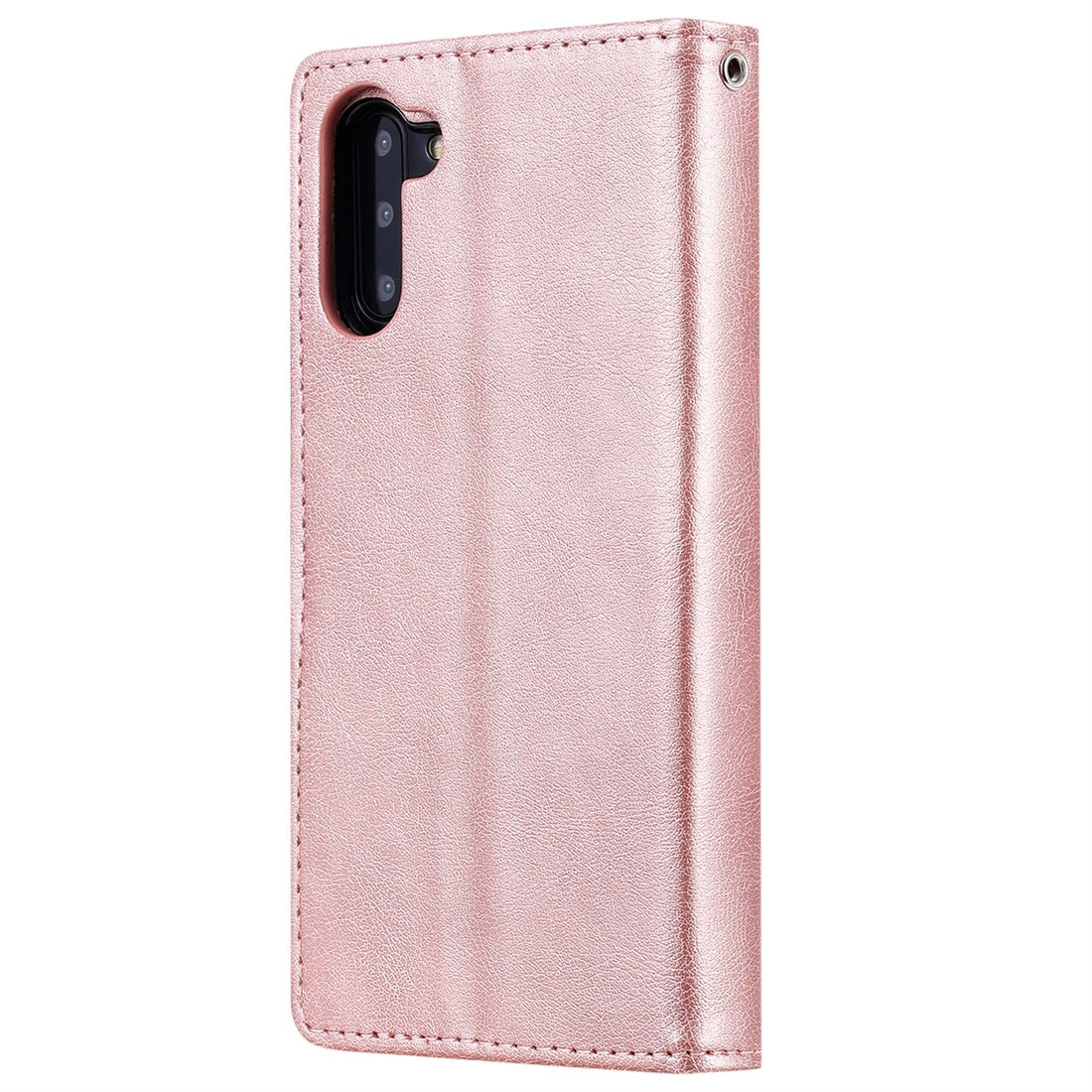 For Galaxy Note 10 Solid Color Horizontal Flip Protective Case with Holder & Card Slots & Wallet & Photo Frame & Lanyard(Rose Gold)