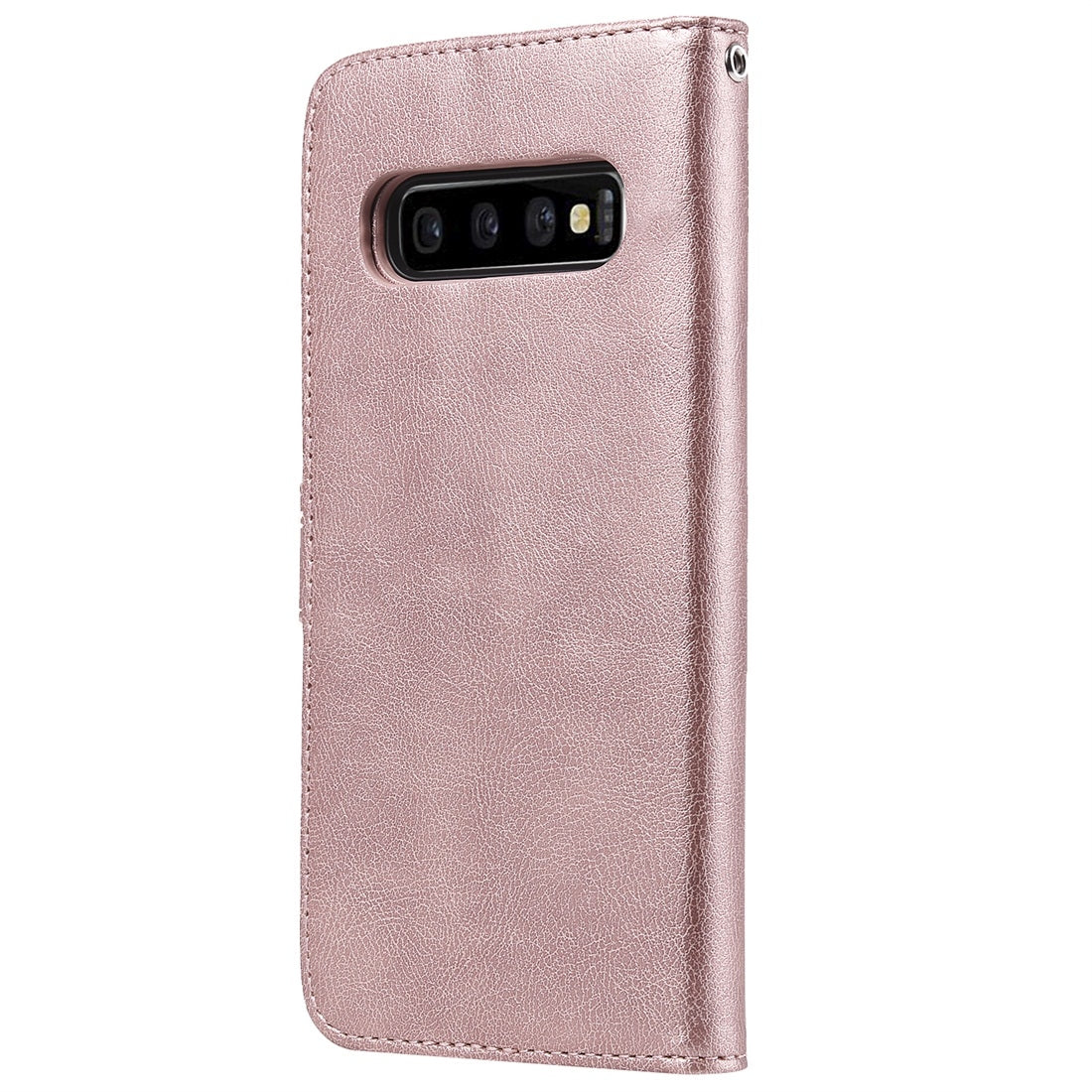 For Galaxy S10+ Solid Color Horizontal Flip Protective Case with Holder & Card Slots & Wallet & Photo Frame & Lanyard(Rose Gold)
