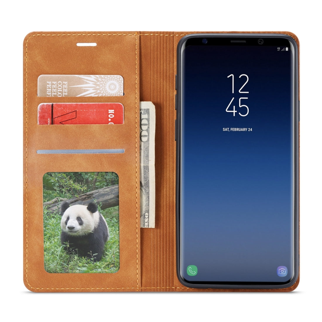 For Galaxy S9+ Forwenw Dream Series Oil Edge Strong Magnetism Horizontal Flip Leather Case with Holder & Card Slots & Wallet & Photo Frame(Brown)