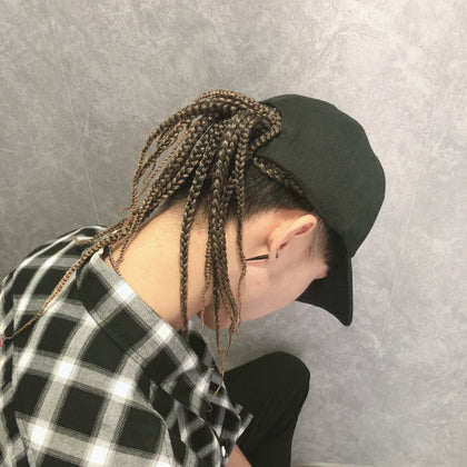 Dreadlocks Wig Hat One-piece Headgear for Men and Women, Style: Black Cap(Light Brown Braid About 35cm)
