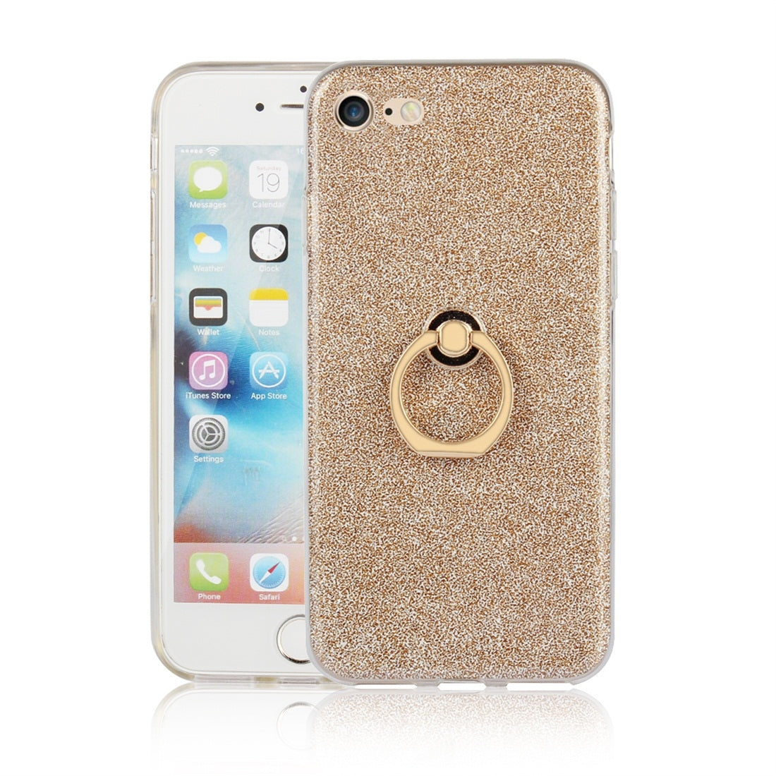 For iPhone 7 / 8 Glittery Powder Shockproof TPU Protective Case with Ring Holder(Gold)