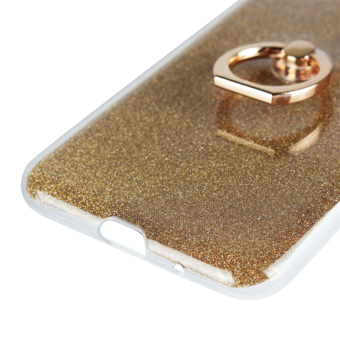 For Huawei Y5 (2018) Glittery Powder Shockproof TPU Protective Case with Ring Holder(Gold)
