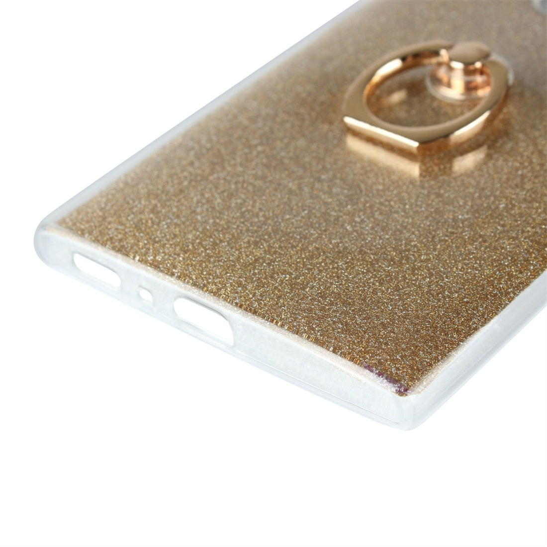 For Sony Xperia L2 Glittery Powder Shockproof TPU Protective Case with Ring Holder(Gold)