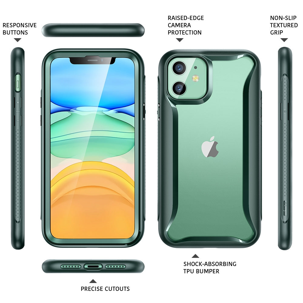 For iPhone 11 ESR Hybrid Armor 360 Series Shockproof PC + TPU Protective Case(Dark Green)
