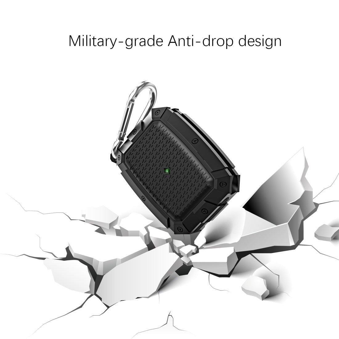 For AirPods Pro Shield Armor Waterproof Wireless Earphone Protective Case with Carabiner(Dark Green)