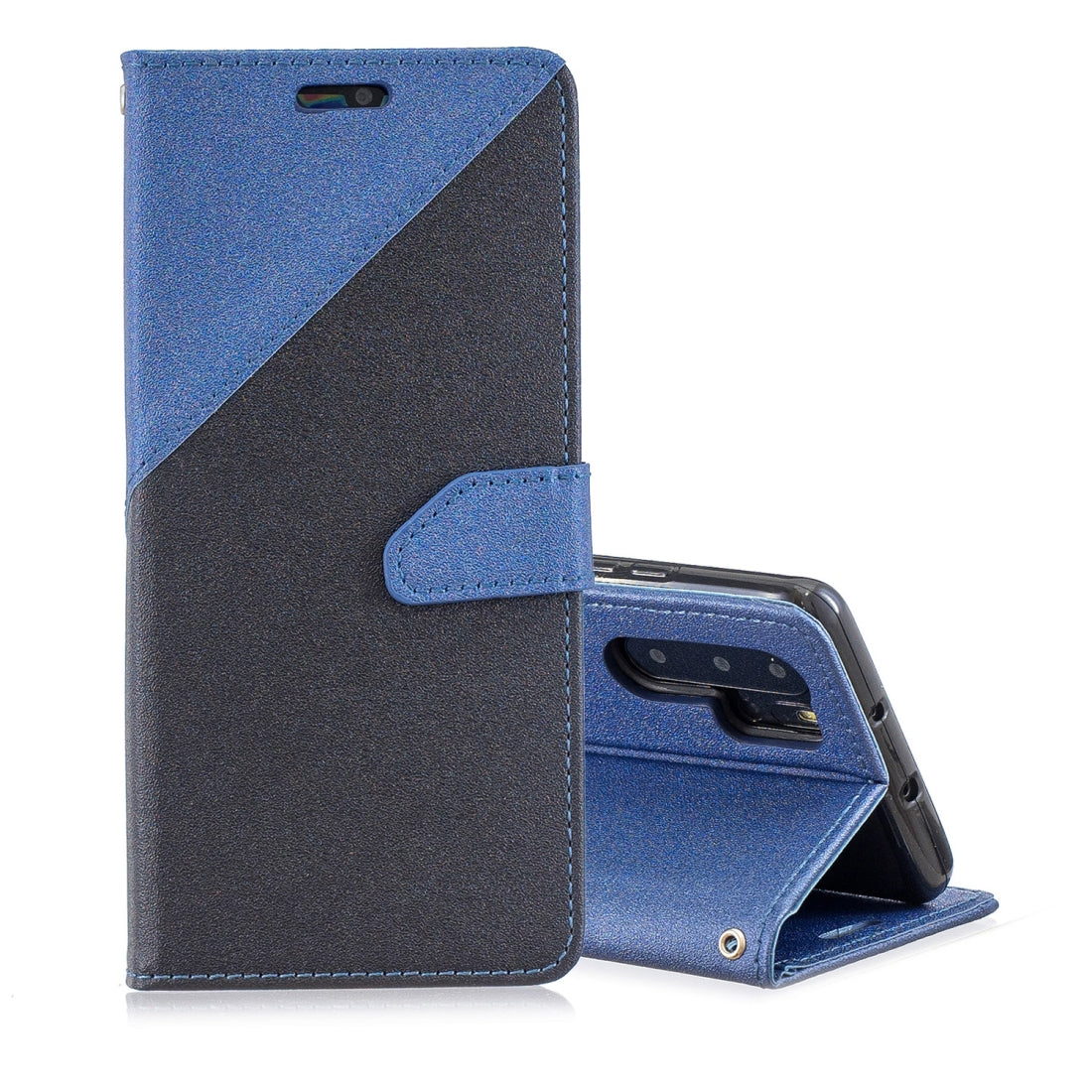 For Huawei P30 Pro Matching Color Frosted Texture Horizontal Flip PU Leather Case with Holder & Card Slots & Lanyard(Black + Royal Blue)