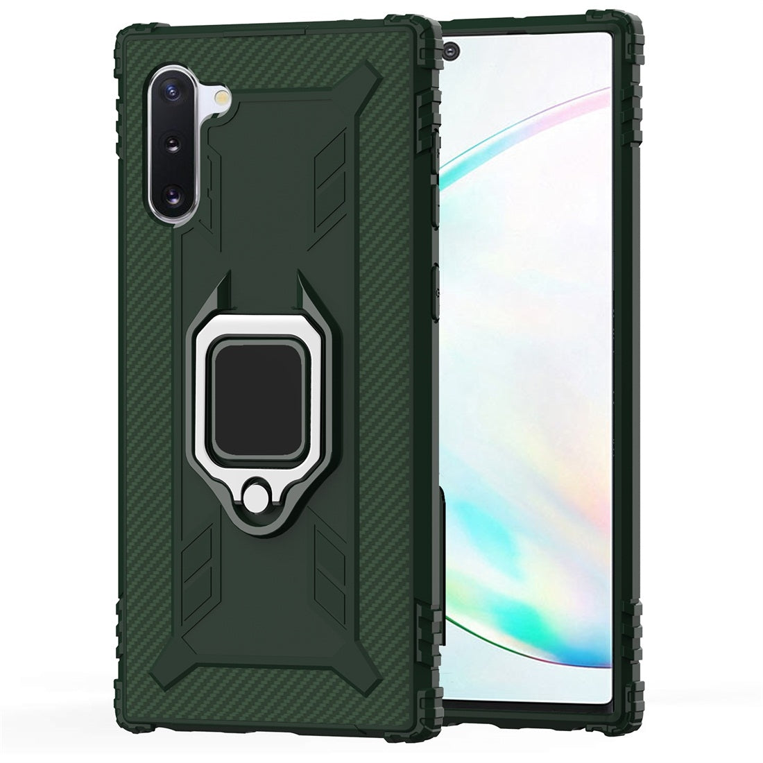 For Galaxy Note 10 Carbon Fiber Protective Case with 360 Degree Rotating Ring Holder(Green)